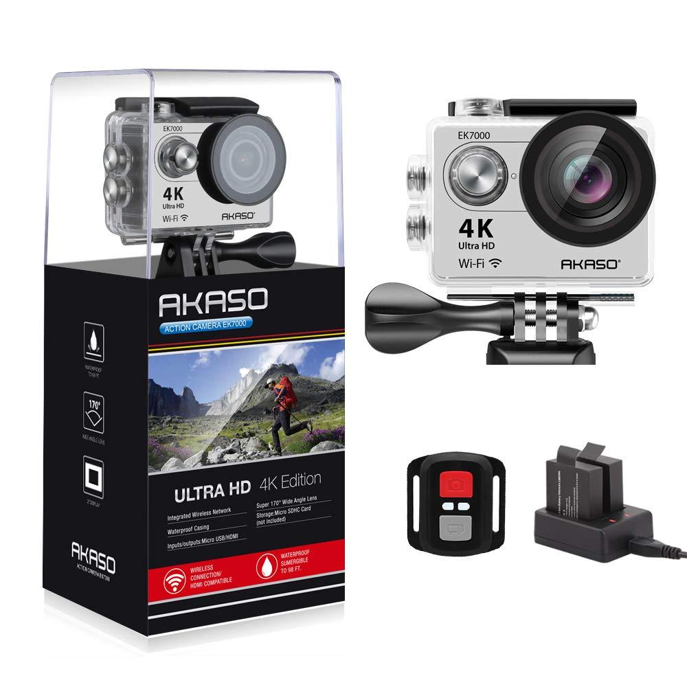 AKASO ek7000 4 K WiFiスポーツカメラアクションカメラウルトラHD防水DVビデオカメラ12 MP 170度ワイド角度2インチLCDスクリーン/ 2.4 Gリモートコントロール/ 2充電式電池/ 19 Mounting kits-silver   B01LYSM20Z