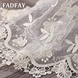 FADFAY Home Textile,Romantic Vintage Floral Sheer Curtains,Luxury Brand Embroidery Voile Curtains,Elegant Girls Princess Lace Curtains