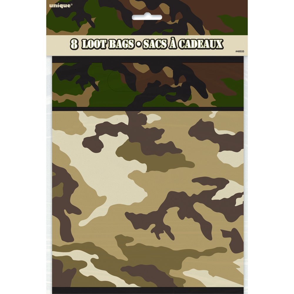 48524 18 cm Paquet de 8 Assiettes en Carton Unique Party Camouflage Militaire