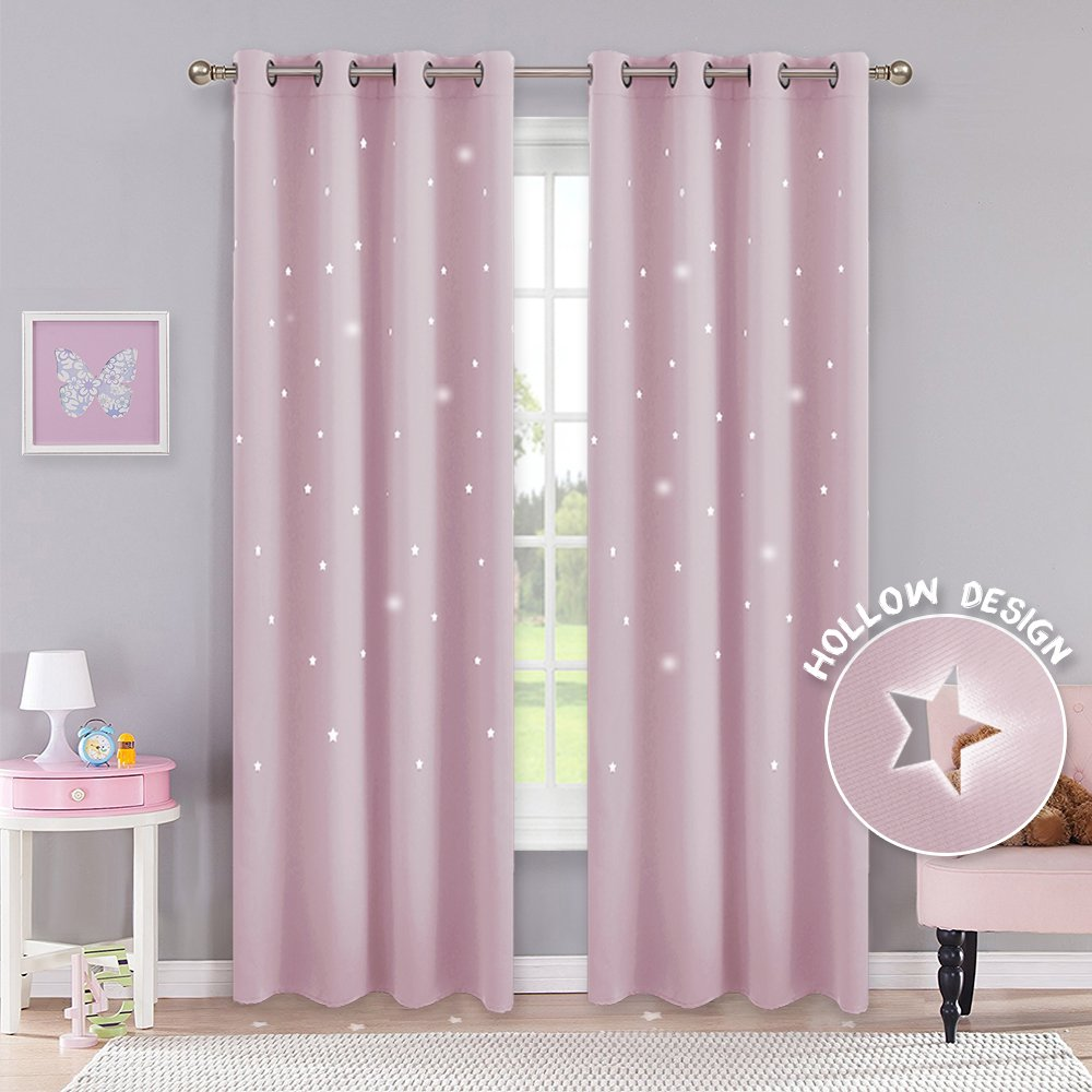 PONY DANCE Home Decor Curtains - Blackout Laser Cutting Stars Grommet Top Room Darkening Curtain Drapes Magical Fairy Starry Night Girl's Room, 52'' Wide 63'' Long, Light Pink, 2 Pieces