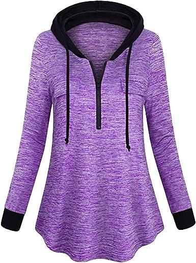 WSPLYSPJY Womens Lightweight Hoodie Sweatshirt Loose Pullover Tunic Top