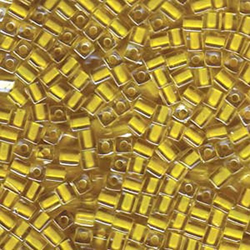 20Gr Clear Yellow Lined Miyuki 4mm Square Cube Glass Seed Beads