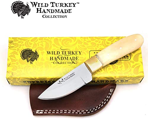 Wild Turkey Handmade Collection Full Tang Real Bone Handle Fixed Blade Skinner Knife w Leather Sheath
