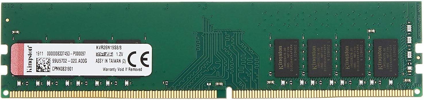 Kingston Memory KVR26N19S8/8 ValueRAM DDR4 8 GB DIMM 288-pin Computer Internal Memory
