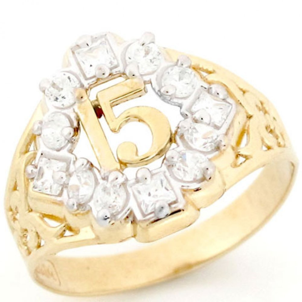 10k Gold CZ 15 Anos Quinceanera April Birthstone Ring