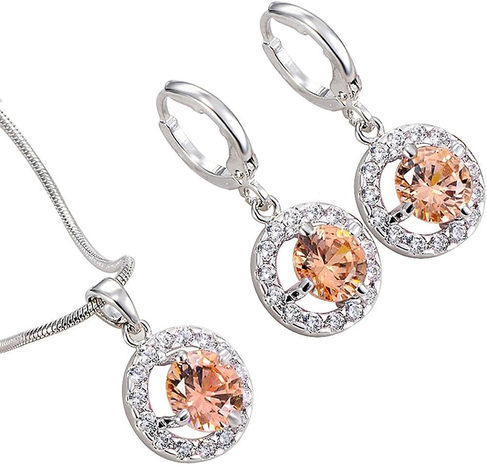 aiuin Collier Boucles dOreilles Diamant /él/égant et tendance femmes bijoux Crystal Set de Collier Pendentif en cristal boucles doreilles