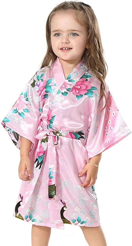 FLYCHEN Girls' Satin Kimono Spa Robe Wedding Peacock Flower Nightgown