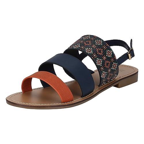 82cbd81f8 Mode By Red Tape Women s Blue Rust Fashion Sandals-6 UK India (39 EU ...