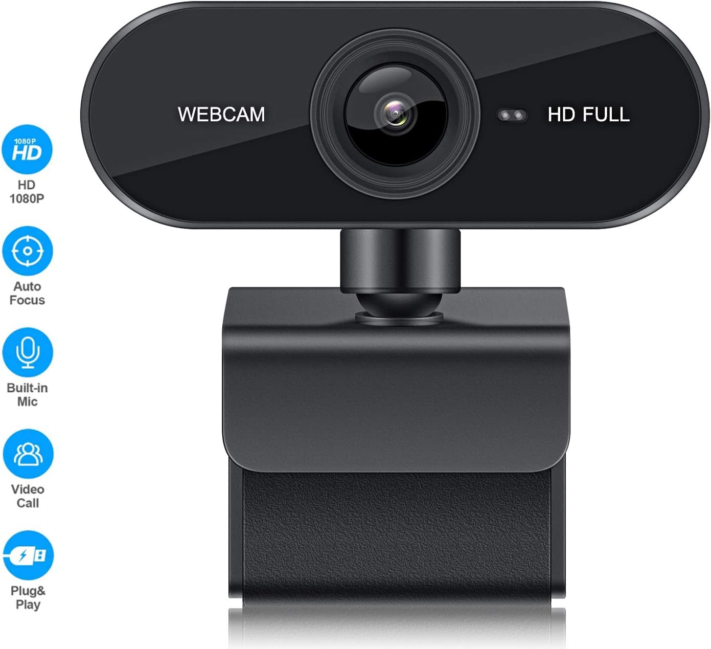 Webcam with Microphone, USB 2.0 1080P HD PC Camera Plug and Play Web Camera for Desktop, Laptop, Computer, Windows, Mac OS, Video Calling, Video Streaming, Conference, Gaming, Online Classes