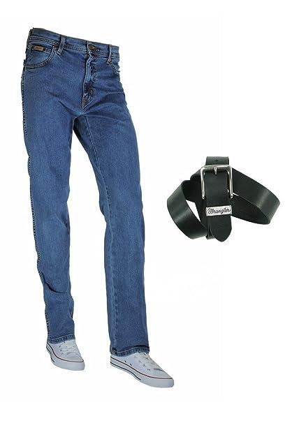 Wrangler TEXAS STRETCH Herren Jeans Regular Straight Fit inkl. Wrangler Basic Ledergürtel versch. Waschungen