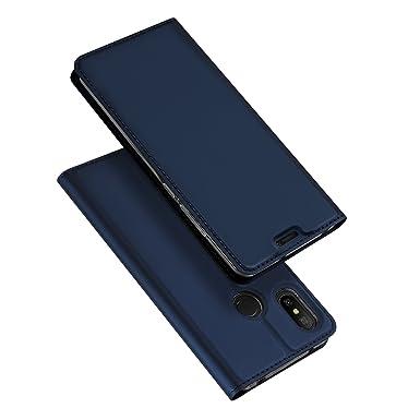 premium selection b922d 3f2b9 DUX DUCIS Xiaomi Mi A2 Lite Case, Premium PU Leather Flip Case with  Kickstand & Card Slot Shockproof Cover for Xiaomi Mi A2 Lite (Deep blue)