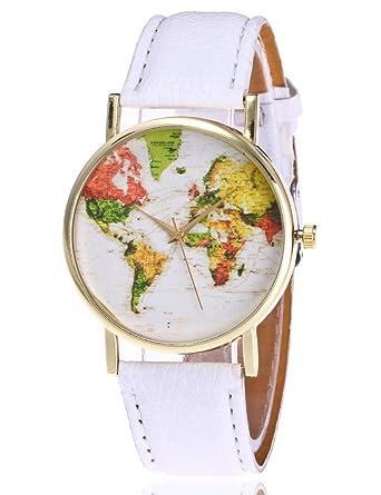 weant mujeres relojes correa de piel viajero Mapa del mundo globo esfera Retro Lady reloj funda