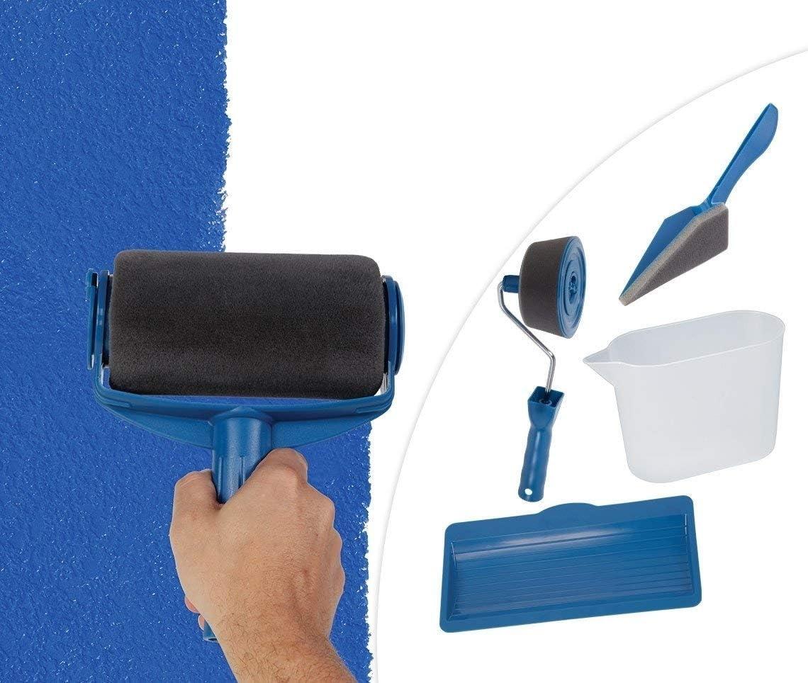 Outil de Peinture Murale Multifonction Bricolage DIY Outil de Peinture pour Murs Brosse /à Rouleau de Peinture Bleu Jalikeke 8 Pcs Kit de Rouleau de Peinture