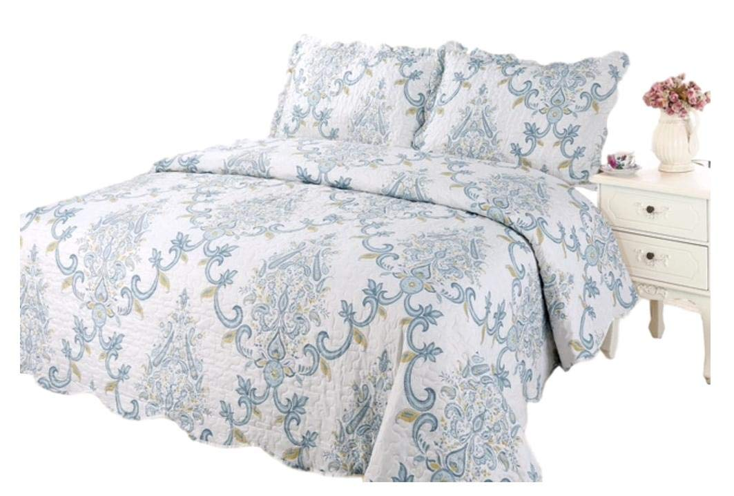 Taj Paisley Printed Bedding 3 Piece Bedspread Quilt Set, King 965