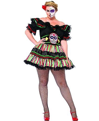 a2c547510319f Amazon.com  Leg Avenue 85293X Plus Size Day Of The Dead Doll ...