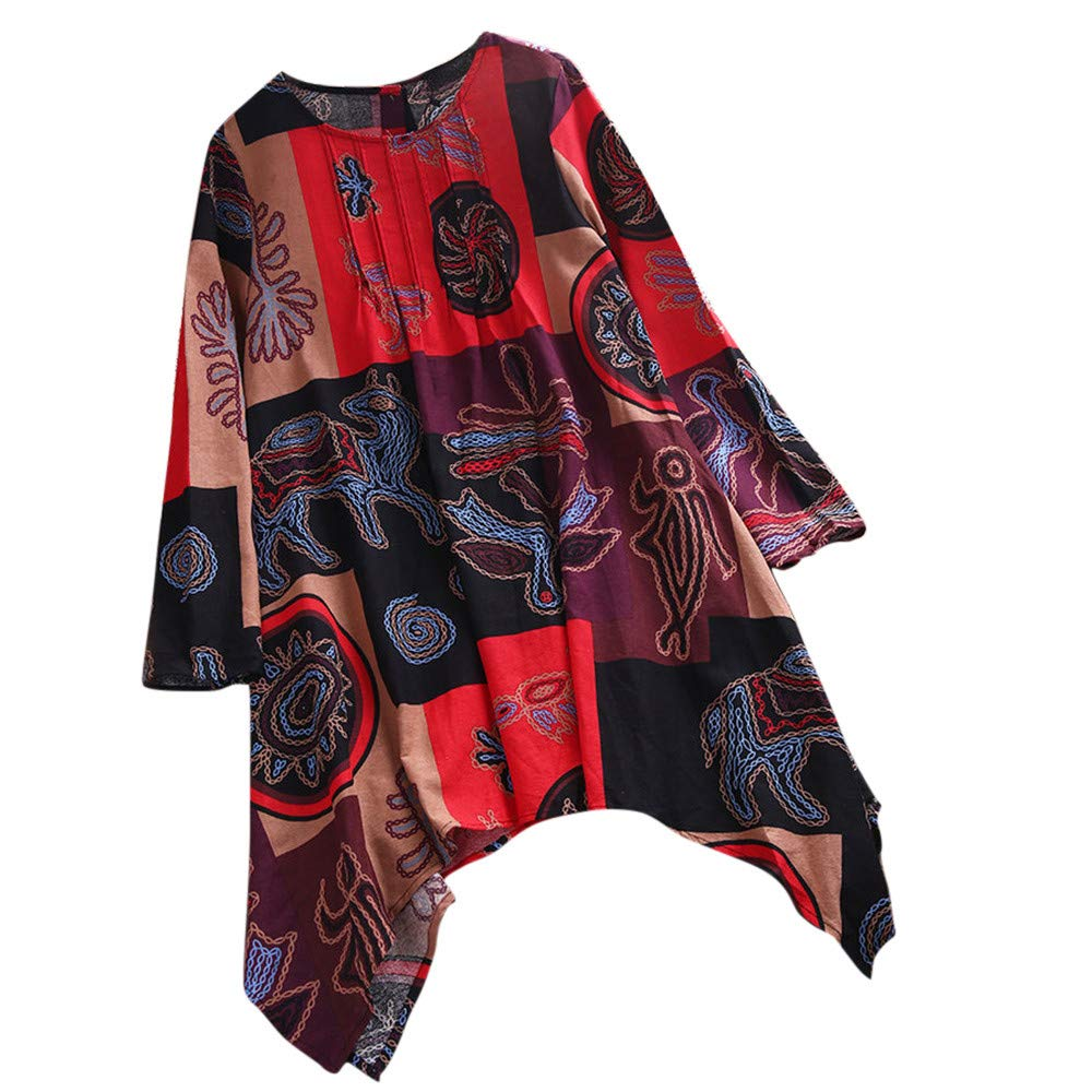 African Printed Blouse, MEEYA Women Ladies Plus Size Loose Pullover Button Tops Shirt Red