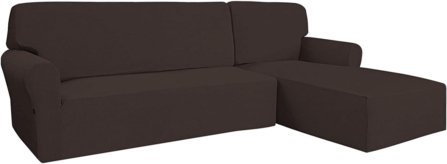 Easy-Going Stretch Sofa Slipcover 2 Pieces L-Shaped Sofa Cover Sectional Couch Cover for Living Room Jacquard Fabric Chaise Lounge Slipcover with Elastic Bottom for Dogs Kids Pets(X-Large,Chocolate)