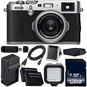 Fujifilm X100F Digital Camera (Silver) International Model 16534584 + NPW-126 Replacement Lithium Ion Battery + External Rapid Charger + 128GB SDXC Class 10 Memory Card + Micro HDMI Cable Bundle