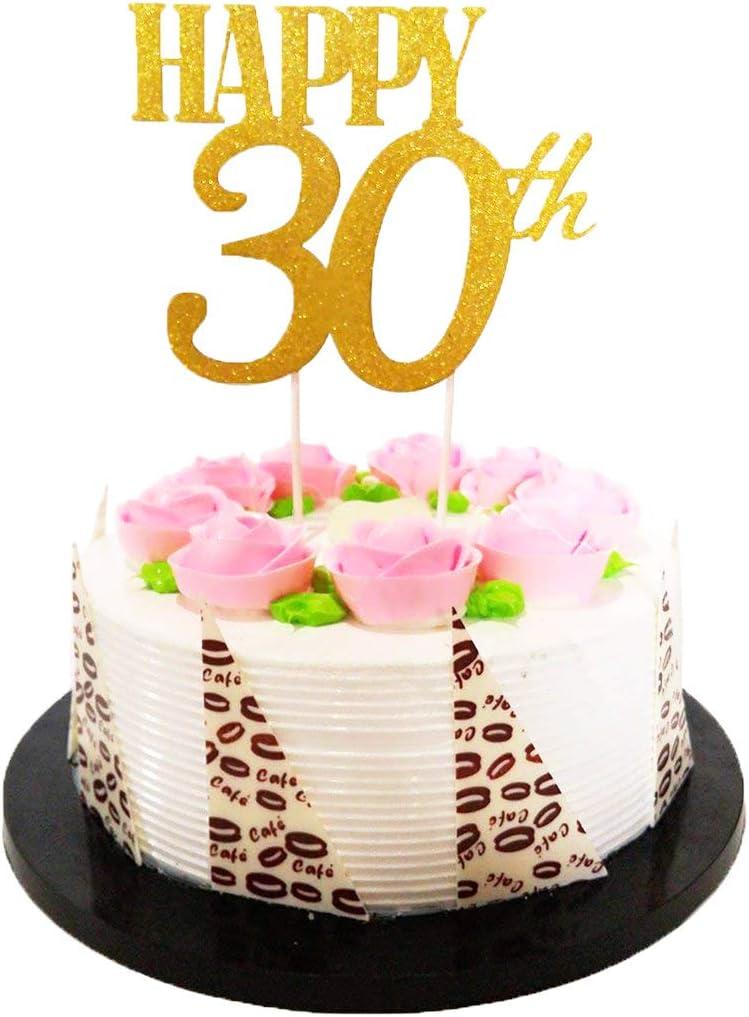 Astonishing Amazon Com El Gold Glitter Happy 30Th Birthday Cake Topper Funny Birthday Cards Online Unhofree Goldxyz