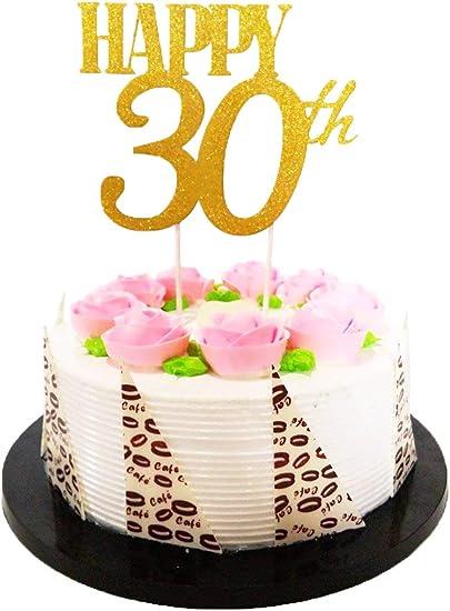 Remarkable El Gold Glitter Happy 30Th Birthday Cake Topper Forever 30 Funny Birthday Cards Online Drosicarndamsfinfo