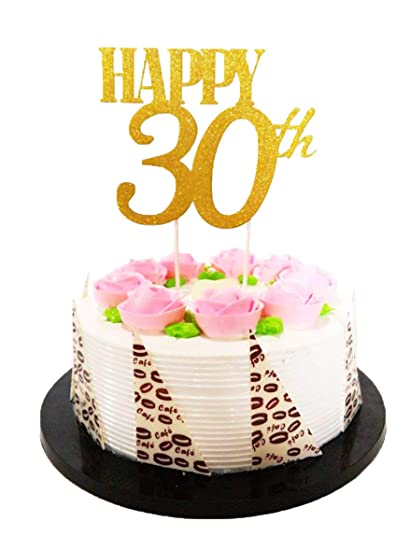 Amazon EL Gold Glitter Happy 30th Birthday Cake Topper