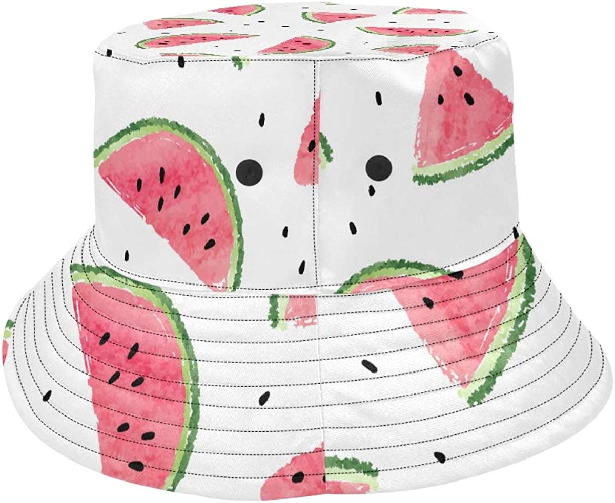 Kawaii Pink Fruit Summer Watermelon New Summer Unisex Cotton Fashion Fishing Sun Bucket Hats for Kid Teens Women and Men with Customize Top Packable Fisherman Cap for Outdoor Travel