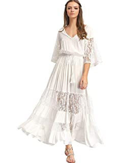 21a7b8db47439 Milumia Women s Bohemian Drawstring Waist Lace Splicing White Long Maxi  Dress