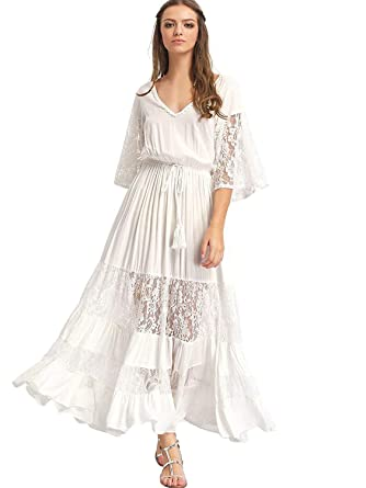 a3e50ddd6885 Milumia Women's Bohemian Drawstring Waist Lace Splicing White Long Maxi  Dress X-Small White