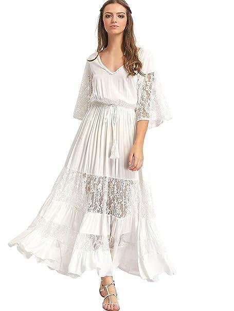 c5a5191b Milumia Women's Bohemian Drawstring Waist Lace Splicing White Long Maxi  Dress