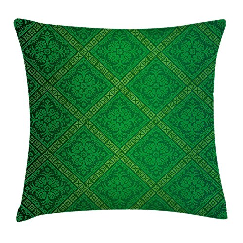 Riolaops Green Decor Throw Pillow Cushion Cover, Vector Illustration Seamless Pattern of Foliage Wallpaper Decorative Pattern, Decorative Square Accent Pillow Case, 18 X 18 Inches, Forest Green