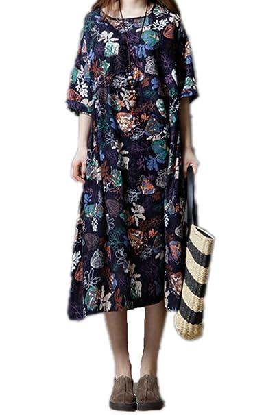 Yacun Camiseta De Manga Corta De Mujer Vestido Floral Vestidos Sueltos De Midi: Amazon.es: Ropa y accesorios