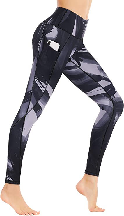 VOEONS Printed Yoga Pants for Women High Waisted Compression Athletic Leggings with Back Pocket