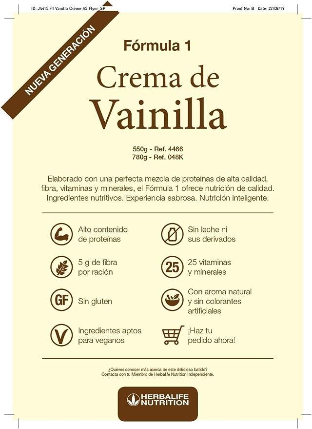 Batido Fórmula 1 Herbalife sustitutivo de comidas bajo en calorías. Rico en proteínas, vitaminas y minerales. Efecto saciante. (Crema de vainilla ...