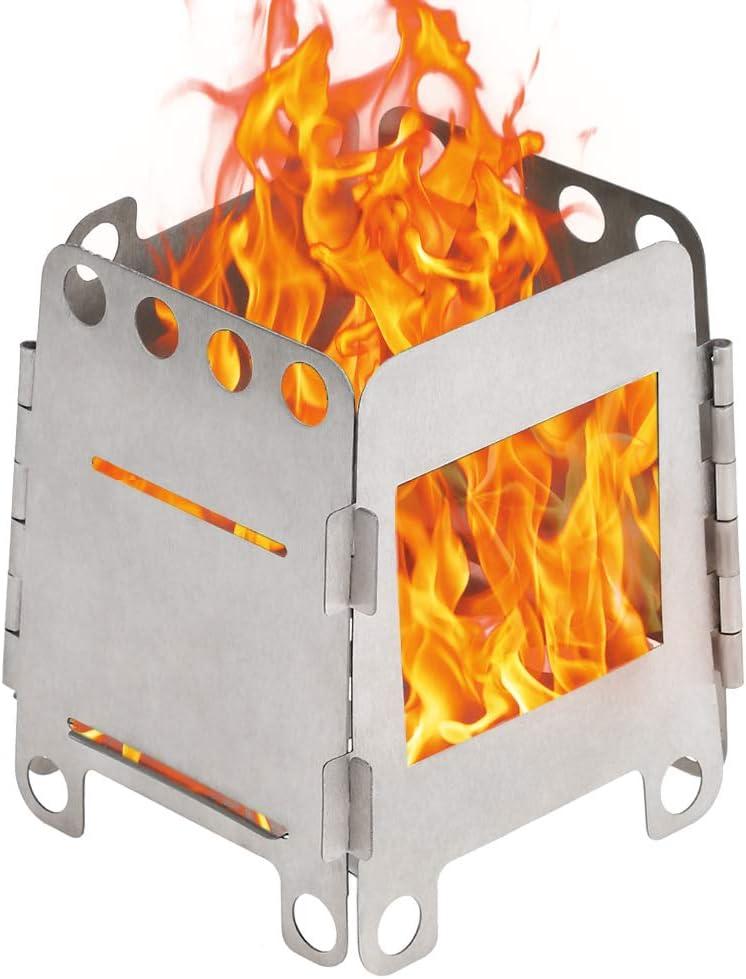 Lixada Estufa de Acampada de Titanio Portátil Ligero Plegable Estufa de Leña para Cocina Cámping Mochilero al Aire Libre