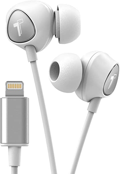 Amazon Com Thore Iphone Earbuds With Lightning Connector Mfi Certified By Apple Earphones V100 Wired In Ear Headphones With Volume Control Mic For Iphone X Xs Xr 11 12 Pro Max White Silver
