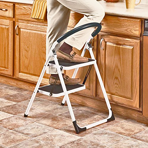 LavoHome 330lbs Upper Reach Reinforced Metal Folding Step-Ladder Household Kitchen (Portable Steel Office Ladder)