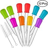 10 piezas Goteros líquidos & 2 cepillos, AIFUDA Aprobado por la FDA Silicona y plastico Pipetas con punta de bombilla para Candy Pegajoso Oso Moldes Fabricante de gelatina - La ciencia de los aceites, 7 colores