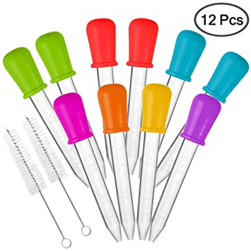 10 piezas Goteros líquidos & 2 cepillos, AIFUDA Aprobado por la FDA Silicona y plastico