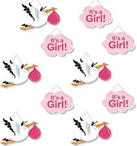 Hanging Girl Special Delivery - Baby Arrival Signs - Outdoor Hanging Decor - Pink It's A Girl Stork Baby Shower Decorations - 10 Pieces
