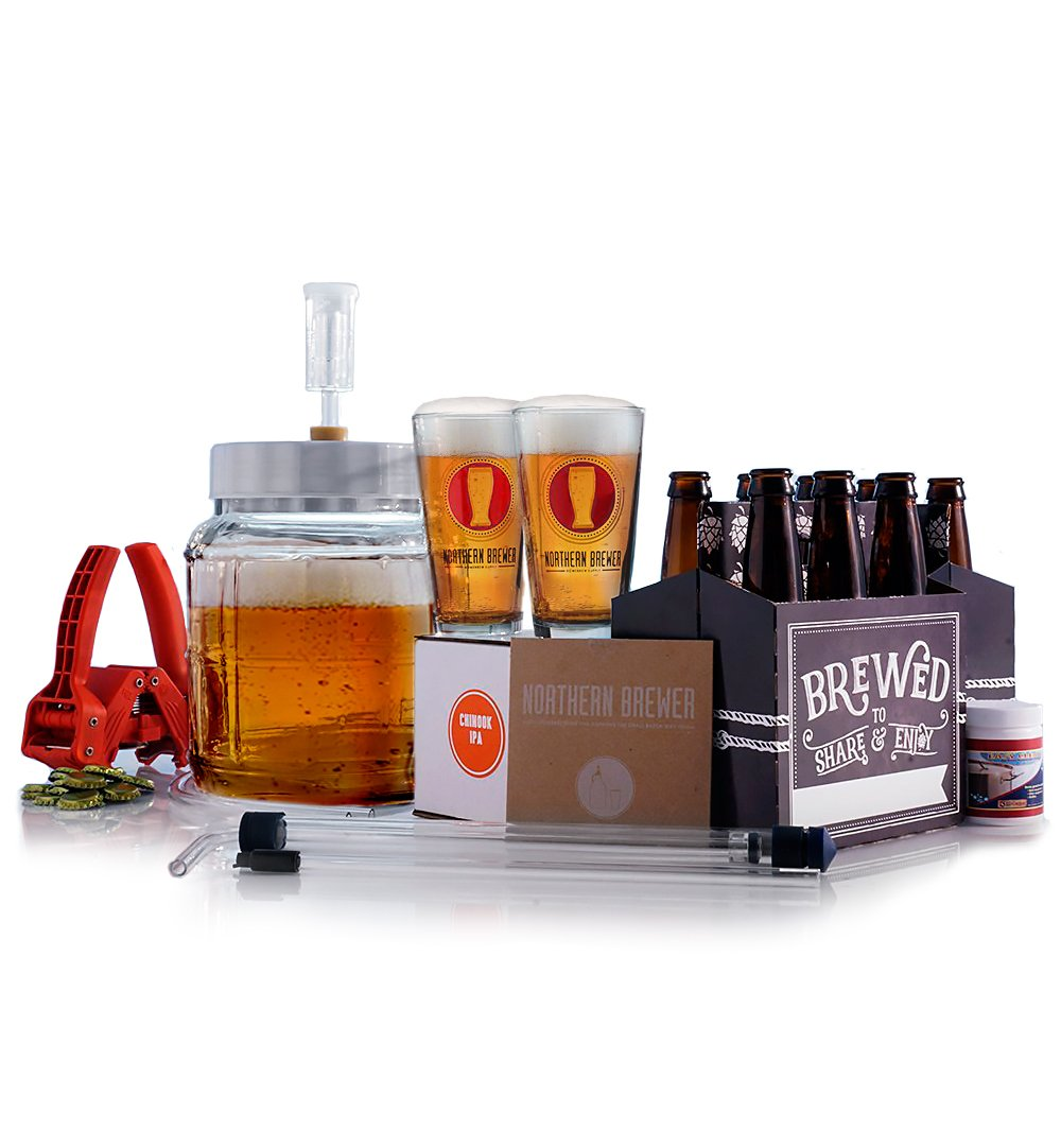 Northern Brewer - All Inclusive Go Pro 1 Gallon Small Batch HomeBrewing Starter Kit And Chinook IPA Beer Brewing Recipe Kit - Little Big Mouth Bubbler With Equipment For Making Homemade Beer