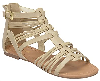 aaabbe4168bc5 SODA Women s Gladiator Inspired Strappy Open Toe Flat Sandals Embellishment  Straps Braid Head in Leather MVE