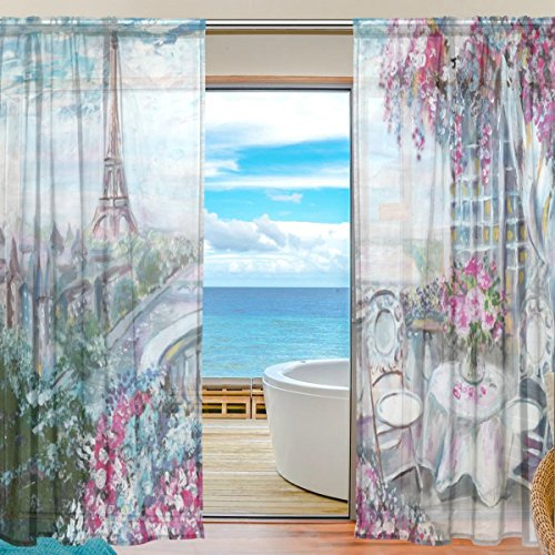 Price comparison product image Chen Miranda Bedroom Decoration Oil Painting Summer Cafe Printed Tulle Polyester Door Window Sheer Gauze Shade Curtains Living Room Office Draperies Two Panels Set 55x84 inch Set of 2