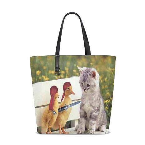 Amazon.com: Funny Ducklings Cute Cat Tote Bag Purse Handbag ...