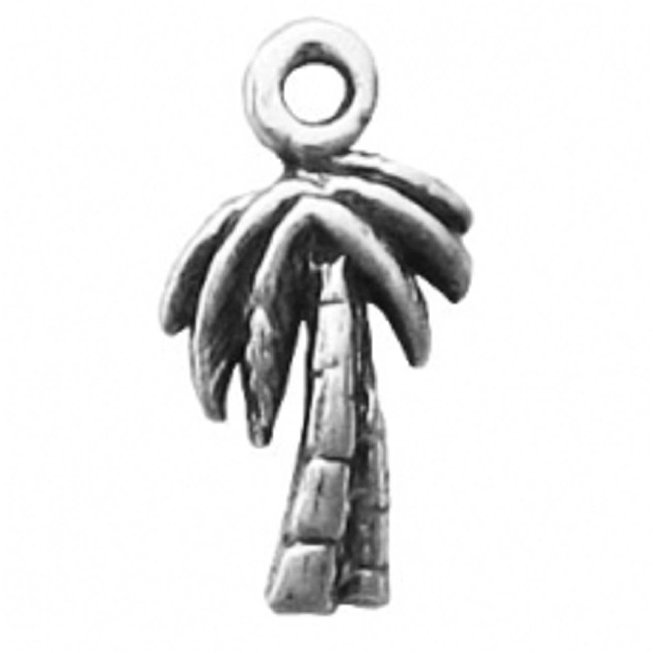 Sterling Silver 7 4.5mm Charm Bracelet With Attached Mini Tropical Palm Tree Charm