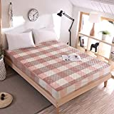 SL&CL Cotton bed cover,Single piece fabric sides padded quilt bed pad mattress cover sleeve dustproof cotton pleated bed cover-A 200x220cm(79x87inch)