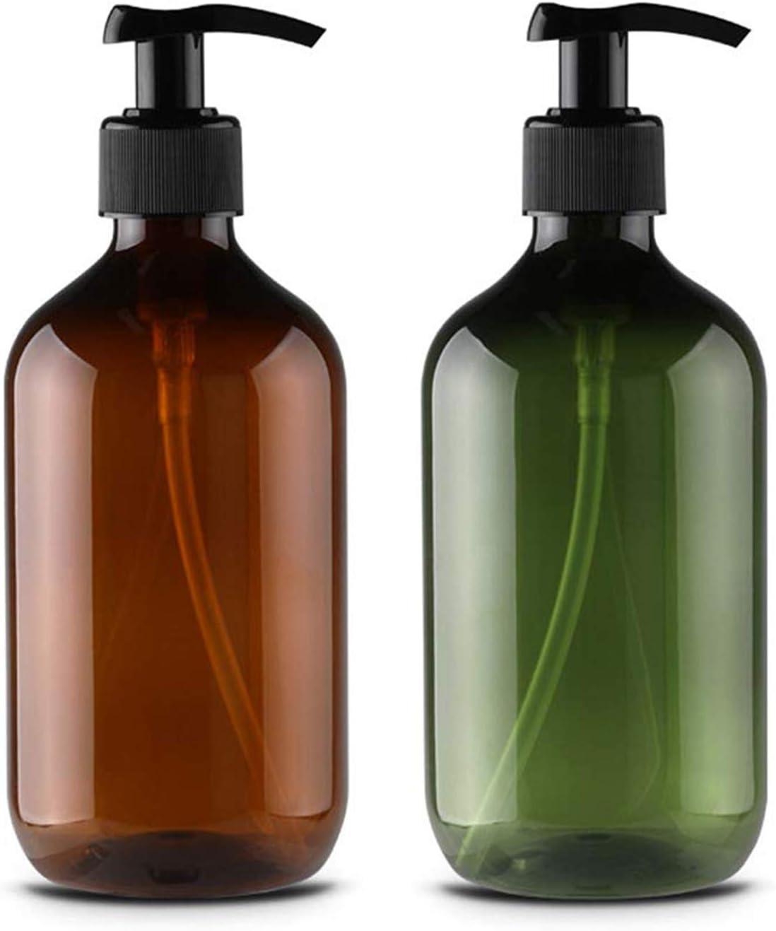 Alledominio, 2 botellas de loción de plástico vacías rellenables de 300 ml, dispensador de jabón líquido para el cuerpo de la ducha (marrón y verde)
