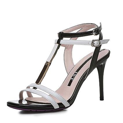 Sandalias ZHIRONG verano Roma de las mujeres de moda elegante punta abierta  en forma de T 6b166c205eb3