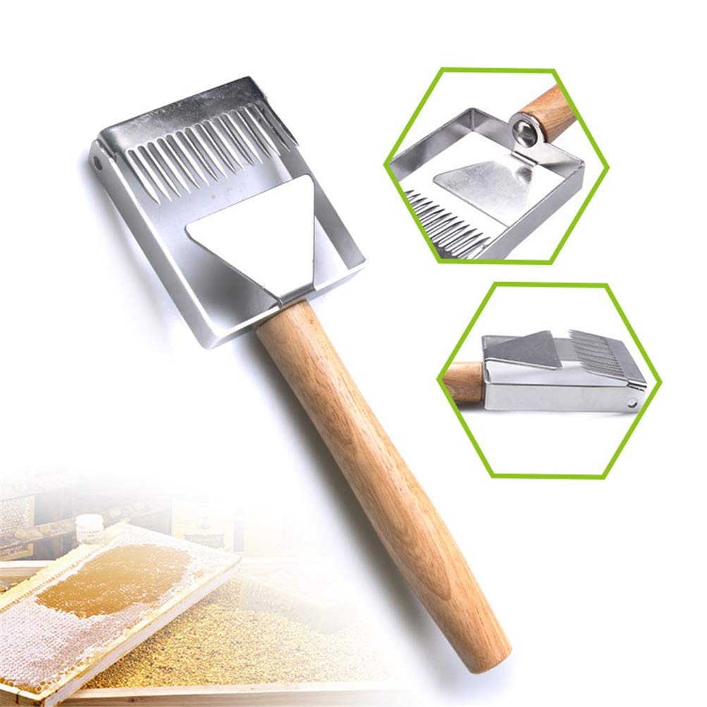 Crazywind Stainless Steel Bee Hive Uncapping Honey Fork Scraper Shovel Wood Handle Beekeeping Tool