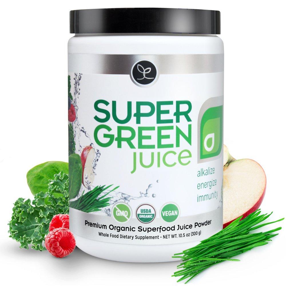 Super Green Juice - 44 Organic Superfoods Powder Supplement (300g) - Probiotics, Antioxidants, Fiber & Digestive Enzymes - Best USDA Organic & Vegan Greens to Alkalize, Energize & Detox (30 Servings)