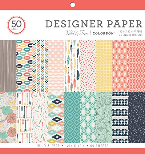 """Colorbok Designer Paper Pad 12"""" x 12"""" Wild & Free by Colorbok"""
